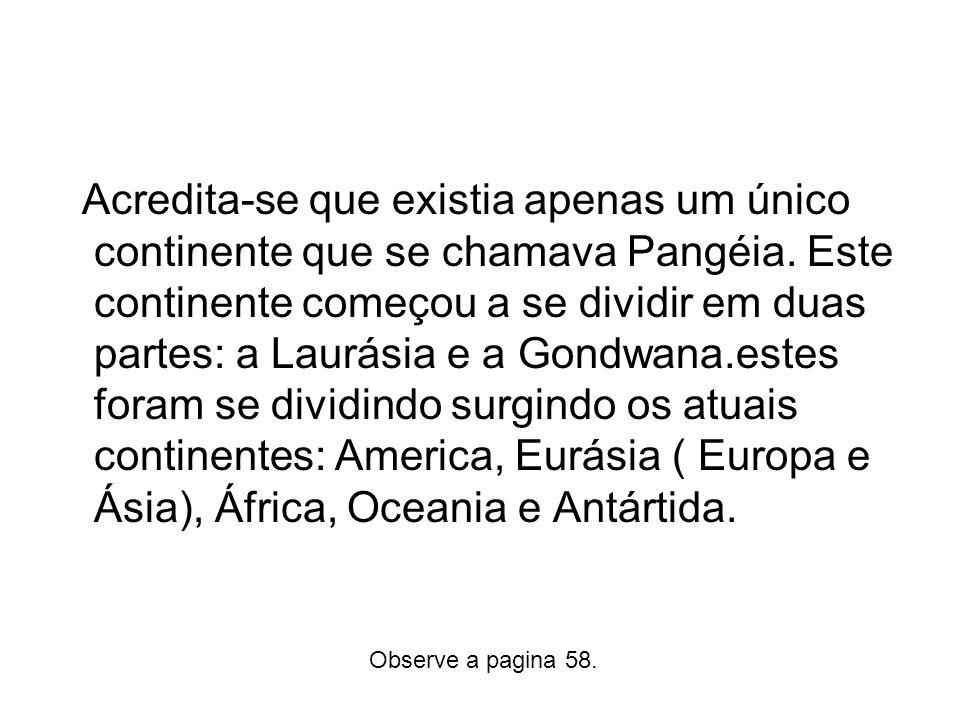 Acredita-se que existia apenas um único continente que se chamava Pangéia. Este continente começou a se dividir em duas partes: a Laurásia e a Gondwan
