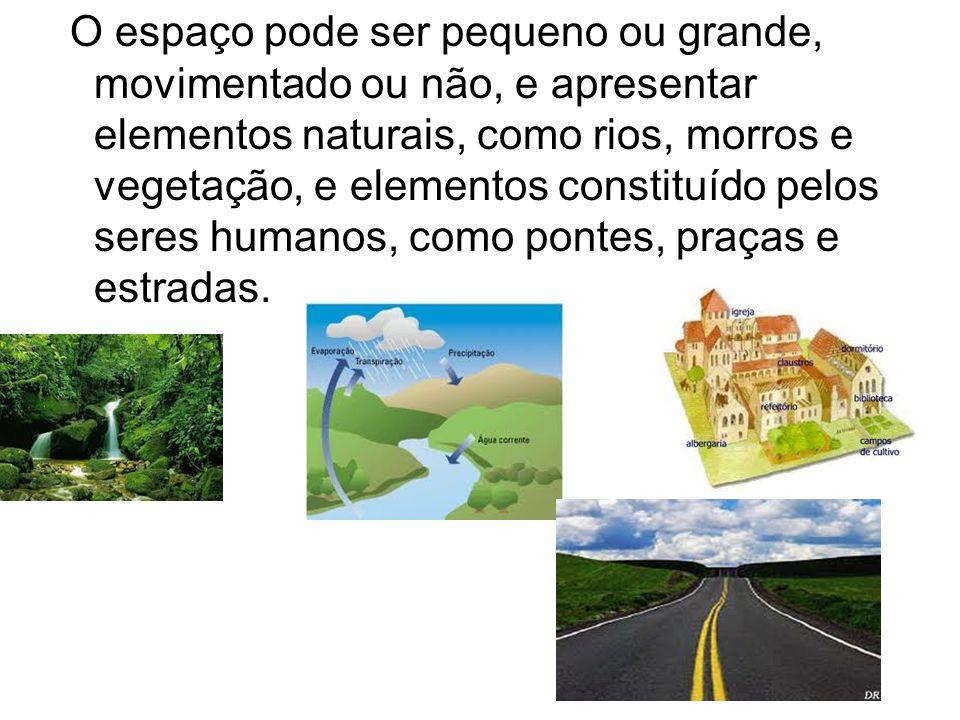O espaço pode ser pequeno ou grande, movimentado ou não, e apresentar elementos naturais, como rios, morros e vegetação, e elementos constituído pelos