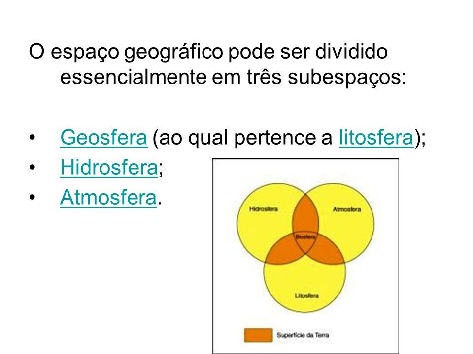 O espaço geográfico pode ser dividido essencialmente em três subespaços: Geosfera (ao qual pertence a litosfera);Geosferalitosfera Hidrosfera;Hidrosfe