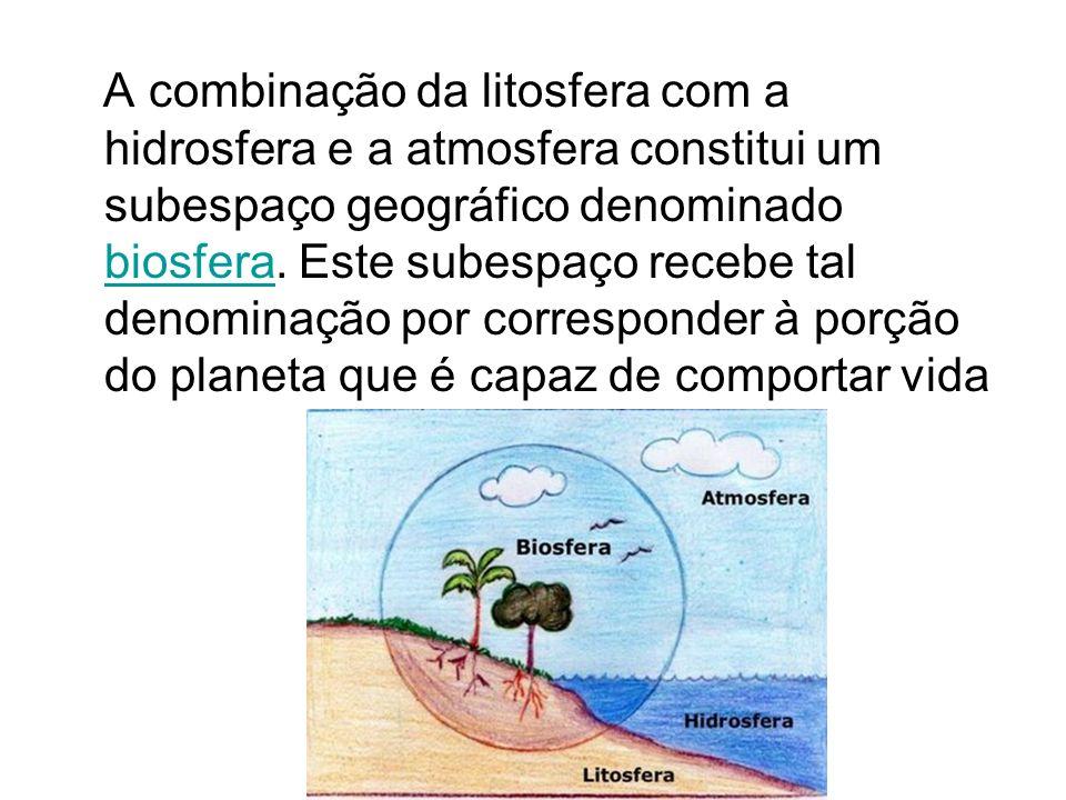 A combinação da litosfera com a hidrosfera e a atmosfera constitui um subespaço geográfico denominado biosfera. Este subespaço recebe tal denominação