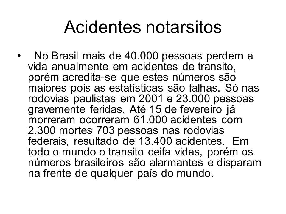 Acidentes notarsitos No Brasil mais de 40.000 pessoas perdem a vida anualmente em acidentes de transito, porém acredita-se que estes números são maior