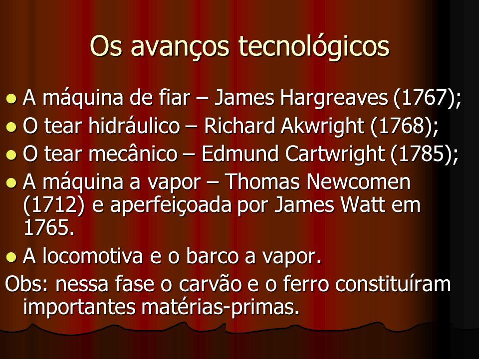 Os avanços tecnológicos A máquina de fiar – James Hargreaves (1767); A máquina de fiar – James Hargreaves (1767); O tear hidráulico – Richard Akwright