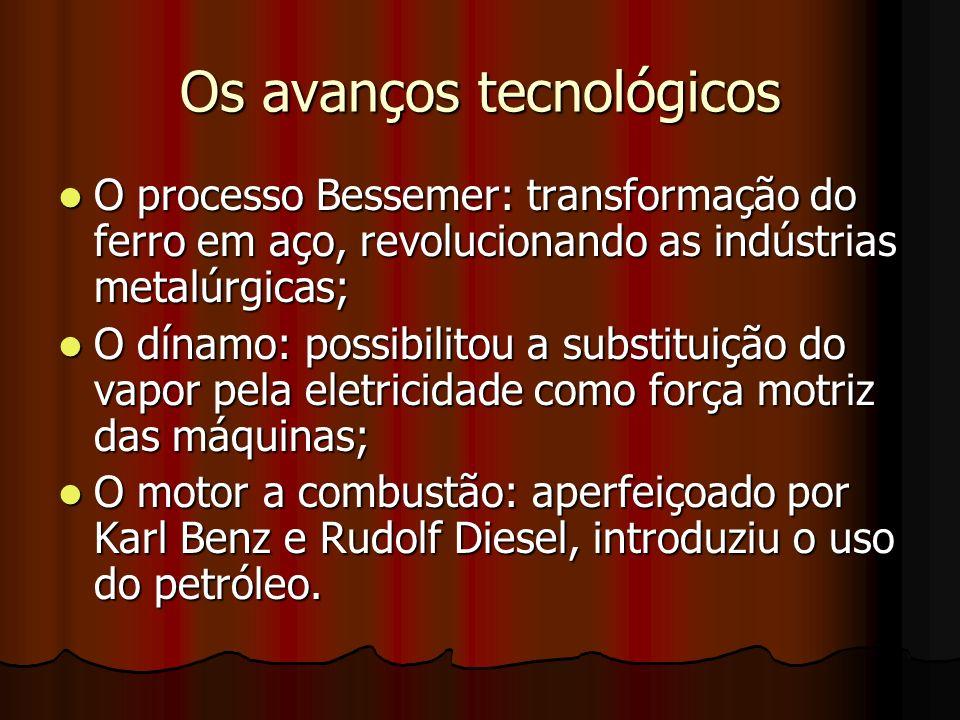 Os avanços tecnológicos O processo Bessemer: transformação do ferro em aço, revolucionando as indústrias metalúrgicas; O processo Bessemer: transforma