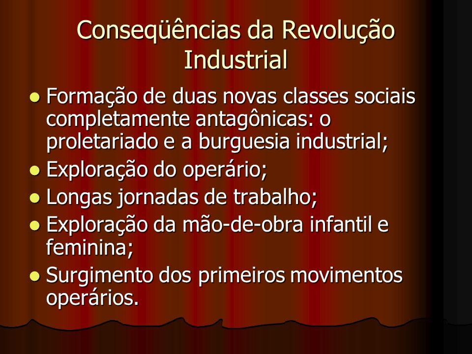 Conseqüências da Revolução Industrial Formação de duas novas classes sociais completamente antagônicas: o proletariado e a burguesia industrial; Forma