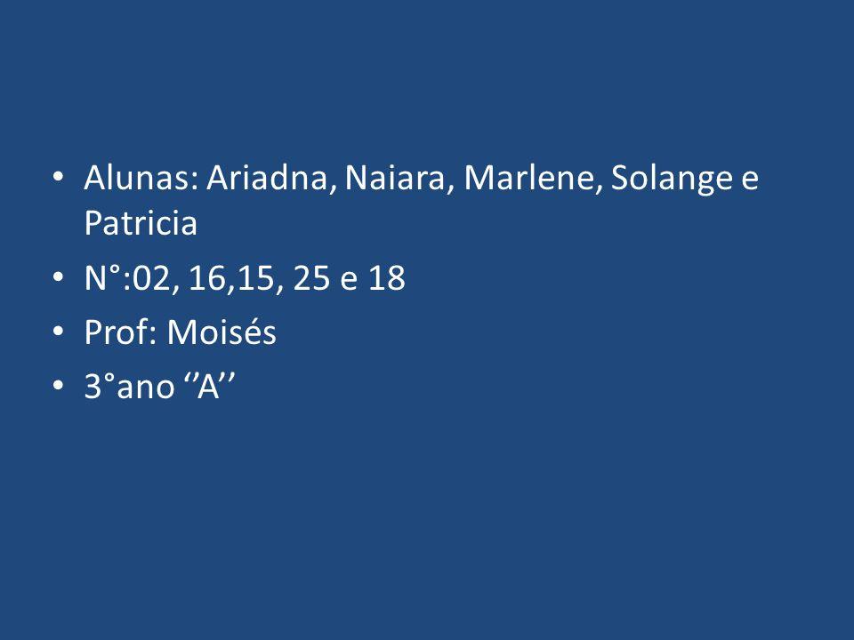 Alunas: Ariadna, Naiara, Marlene, Solange e Patricia N°:02, 16,15, 25 e 18 Prof: Moisés 3°ano A