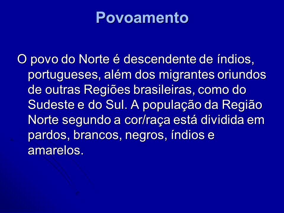 Povoamento O povo do Norte é descendente de índios, portugueses, além dos migrantes oriundos de outras Regiões brasileiras, como do Sudeste e do Sul.