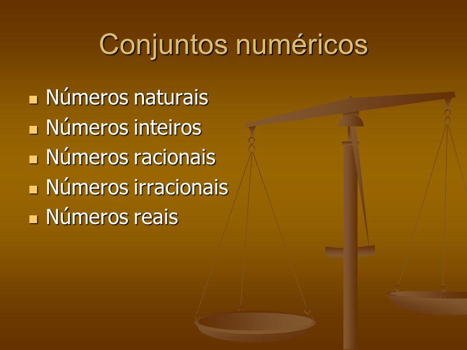 Conjuntos numéricos Números naturais Números naturais Números inteiros Números inteiros Números racionais Números racionais Números irracionais Número