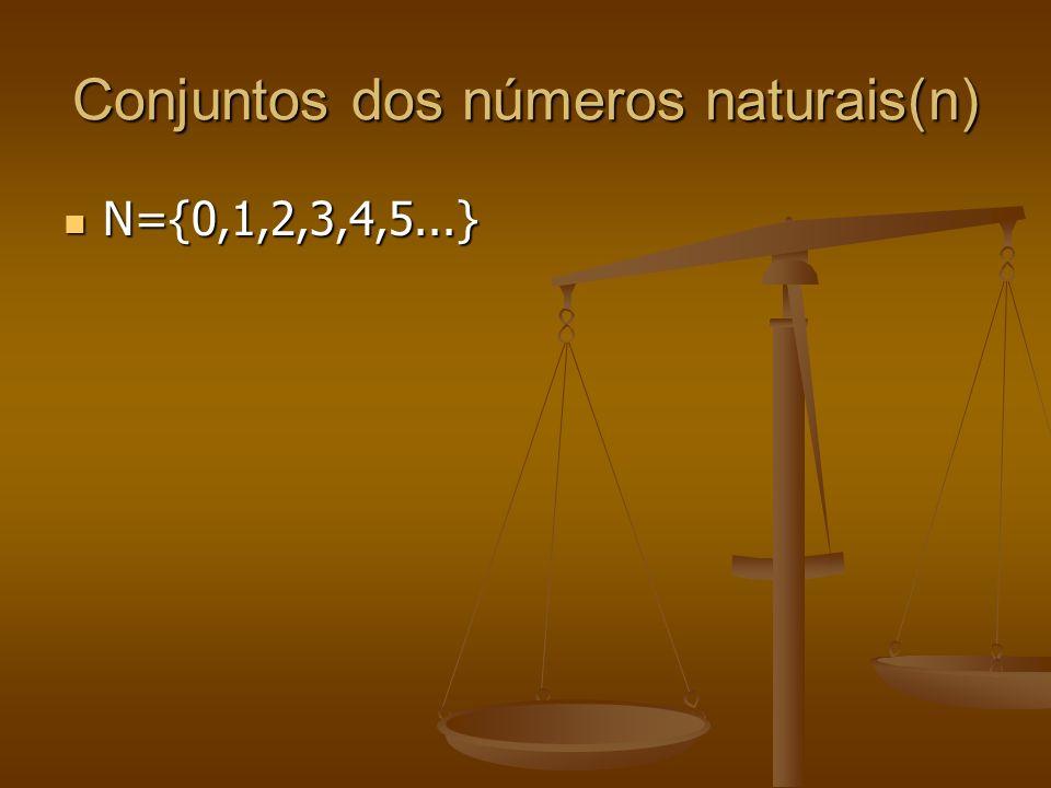 Conjuntos dos números naturais(n) N={0,1,2,3,4,5...} N={0,1,2,3,4,5...}