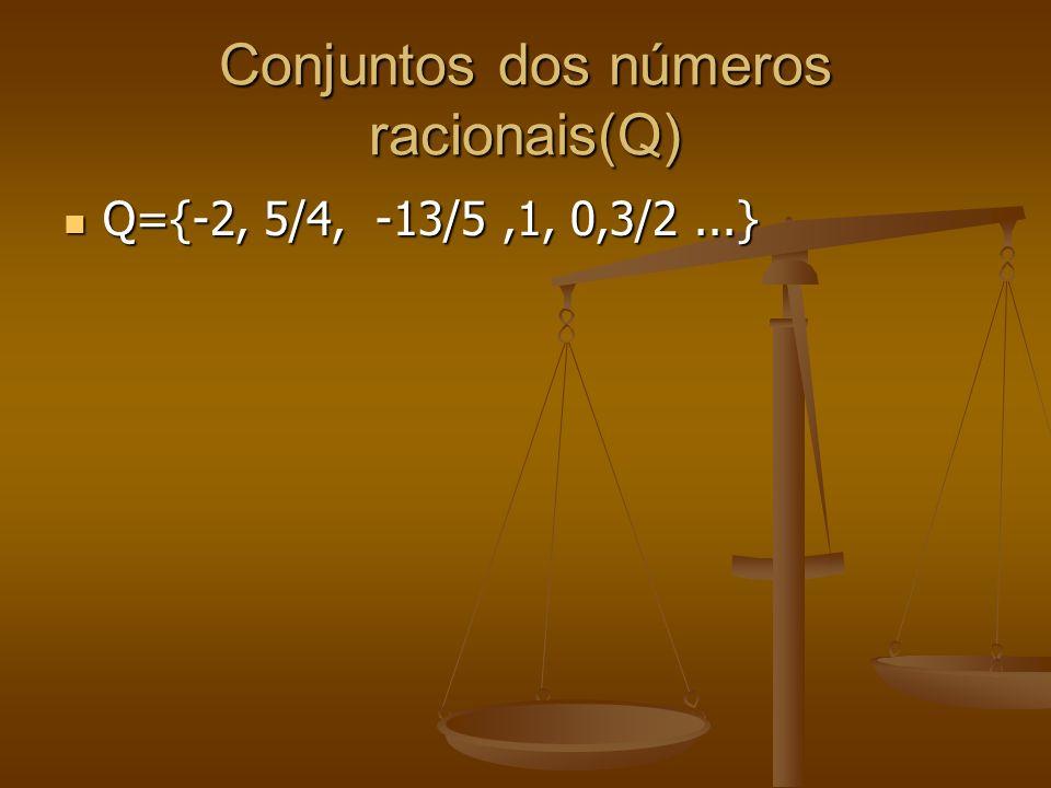 Conjuntos dos números irracionais(I) I=2={1,4142135...} I=2={1,4142135...}