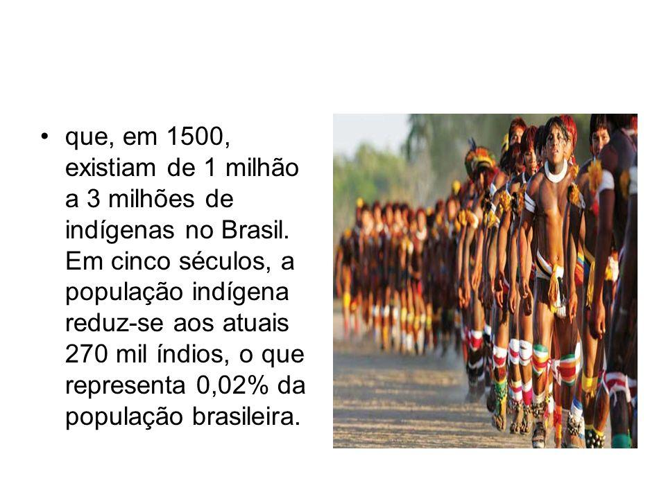 que, em 1500, existiam de 1 milhão a 3 milhões de indígenas no Brasil. Em cinco séculos, a população indígena reduz-se aos atuais 270 mil índios, o qu