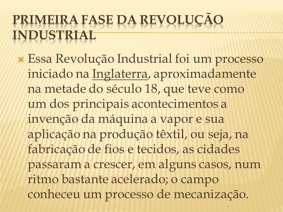 As principais são a divisão do trabalho, a produção em série e a urbanização.