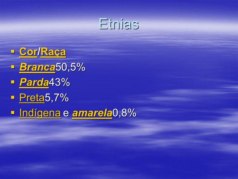 Etnias Cor/Raça Cor/Raça CorRaça CorRaça Branca50,5% Branca50,5% Branca Parda43% Parda43% Parda Preta5,7% Preta5,7% Preta Indígena e amarela0,8% Indígena e amarela0,8% Indígenaamarela Indígenaamarela