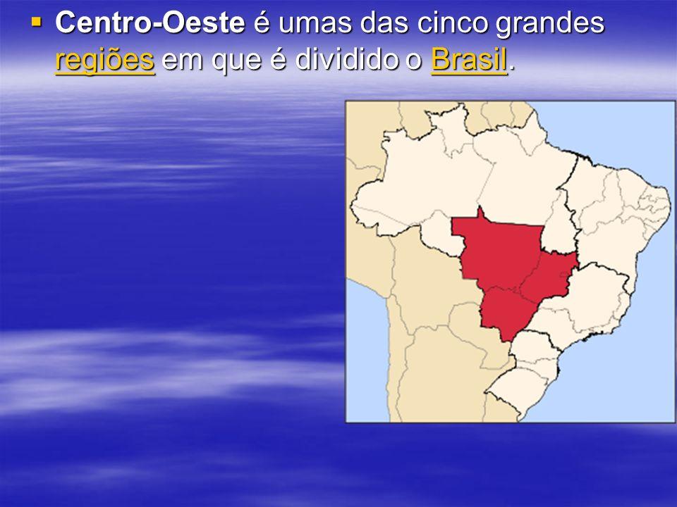 A Região Centro-Oeste é dividida em quatro unidades federativas: Mato Grosso, Mato Grosso do Sul, Goiás e Distrito Federal, onde fica Brasília, a capital do país.