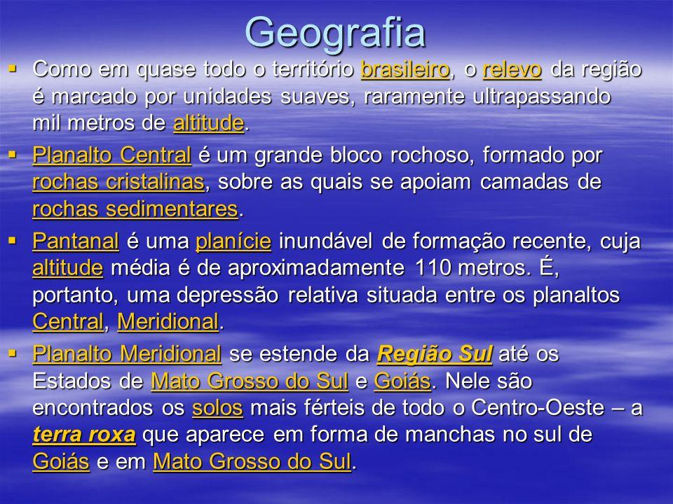 Clima O clima da região Centro-Oeste do Brasil é tropical, quente e chuvoso, sempre presente nos Estados de Mato Grosso, Mato Grosso do Sul e Goiás.
