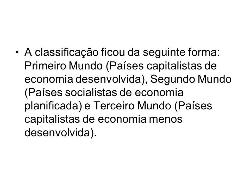 A classificação ficou da seguinte forma: Primeiro Mundo (Países capitalistas de economia desenvolvida), Segundo Mundo (Países socialistas de economia planificada) e Terceiro Mundo (Países capitalistas de economia menos desenvolvida).