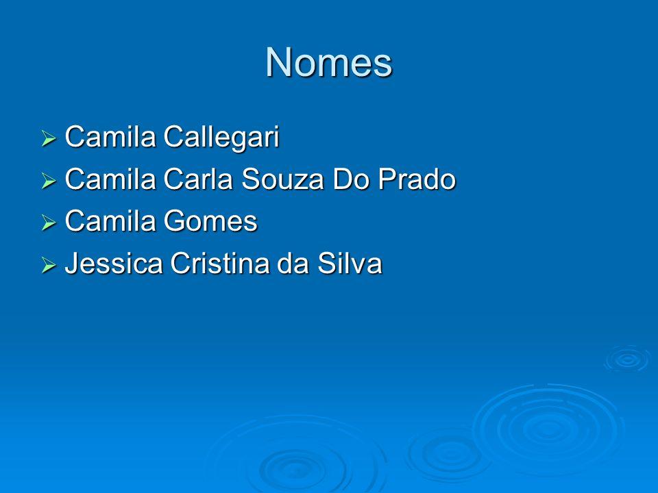 Nomes Camila Callegari Camila Callegari Camila Carla Souza Do Prado Camila Carla Souza Do Prado Camila Gomes Camila Gomes Jessica Cristina da Silva Je