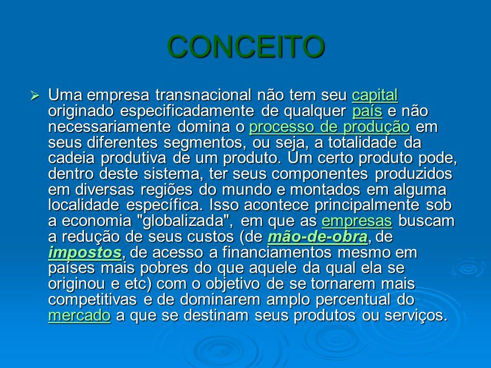 CONCEITO Uma empresa transnacional não tem seu capital originado especificadamente de qualquer país e não necessariamente domina o processo de produçã