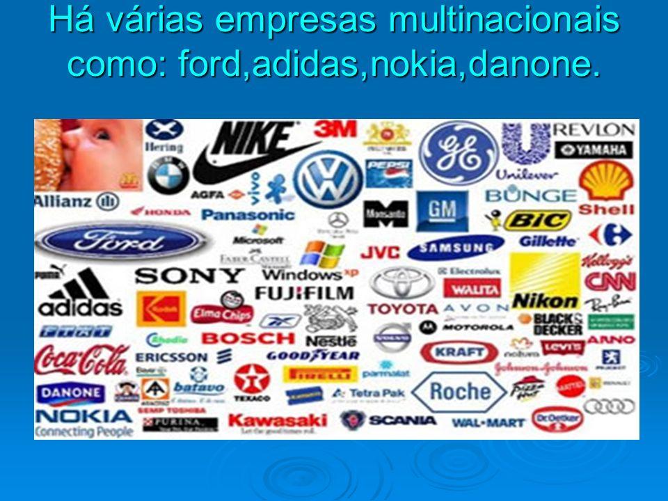 Há várias empresas multinacionais como: ford,adidas,nokia,danone.