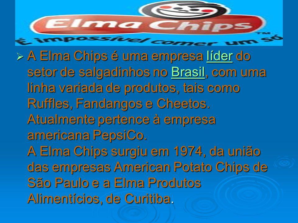 A Elma Chips é uma empresa líder do setor de salgadinhos no Brasil, com uma linha variada de produtos, tais como Ruffles, Fandangos e Cheetos. Atualme