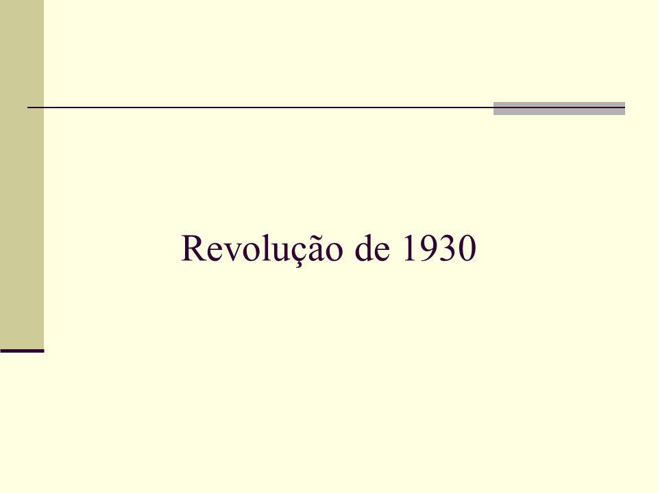 A Revolução de 1930 foi o movimento armado, liderado pelos estados de Minas Gerais, Paraíba e Rio Grande do Sul, que culminou com o golpe de Estado, o Golpe de 1930, que depôs o presidente da república Washington Luís em 24 de outubro de 1930, impediu a posse do presidente eleito Júlio Prestes e pôs fim à República Velha.Minas GeraisParaíbaRio Grande do Sulgolpe de EstadoWashington Luís24 de outubro1930Júlio Prestes República Velha
