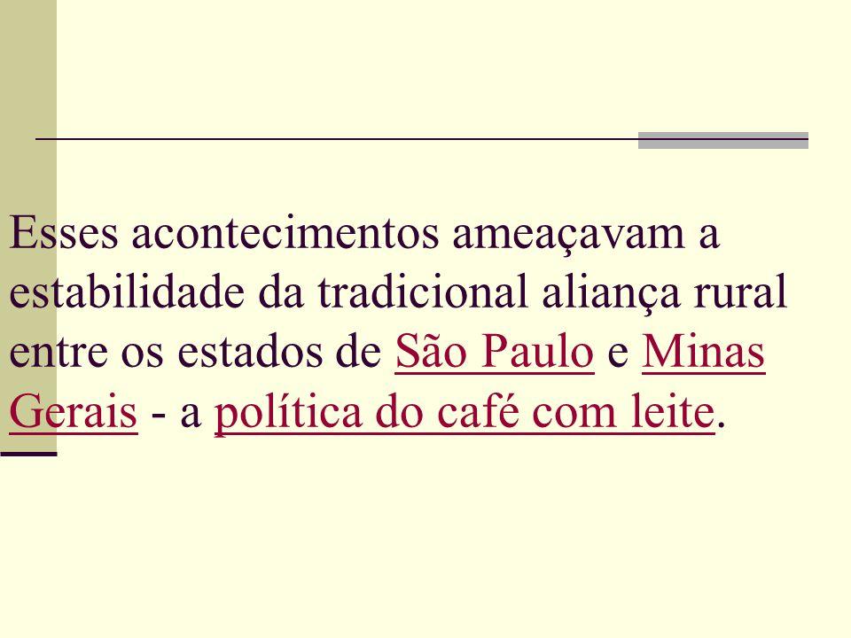 Esses acontecimentos ameaçavam a estabilidade da tradicional aliança rural entre os estados de São Paulo e Minas Gerais - a política do café com leite
