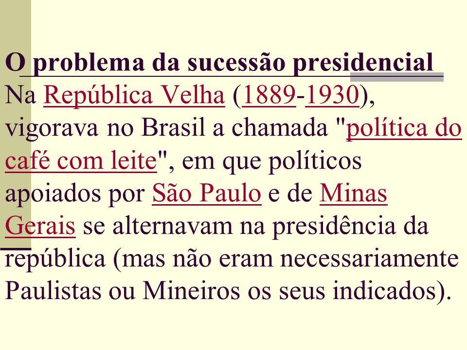 O problema da sucessão presidencial Na República Velha (1889-1930), vigorava no Brasil a chamada