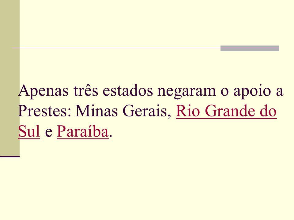 Apenas três estados negaram o apoio a Prestes: Minas Gerais, Rio Grande do Sul e Paraíba.Rio Grande do SulParaíba