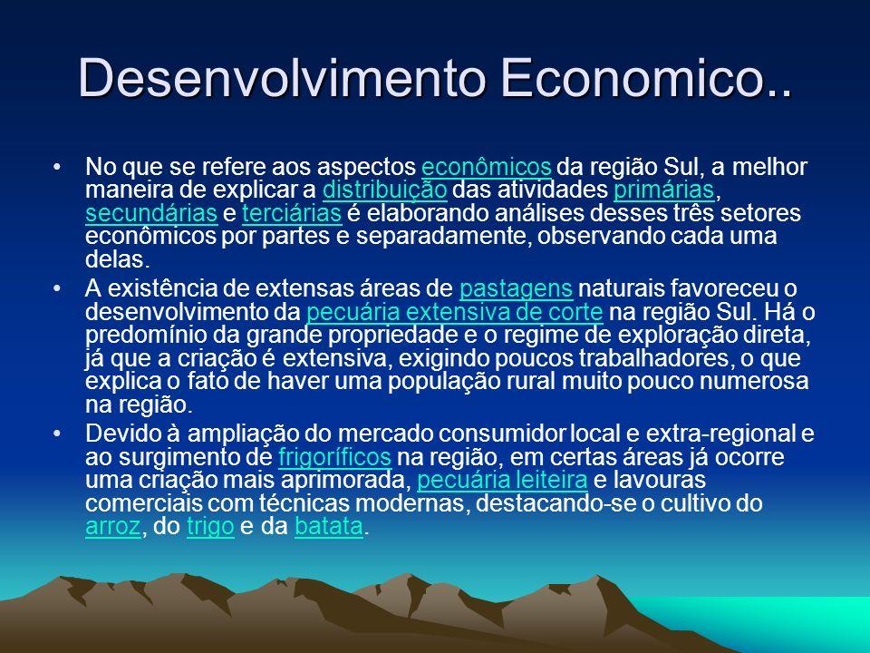 Desenvolvimento Economico.. No que se refere aos aspectos econômicos da região Sul, a melhor maneira de explicar a distribuição das atividades primári