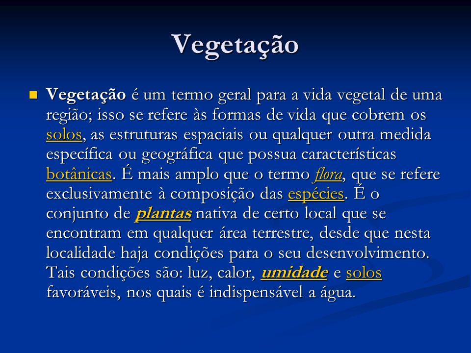 Vegetação Vegetação é um termo geral para a vida vegetal de uma região; isso se refere às formas de vida que cobrem os solos, as estruturas espaciais