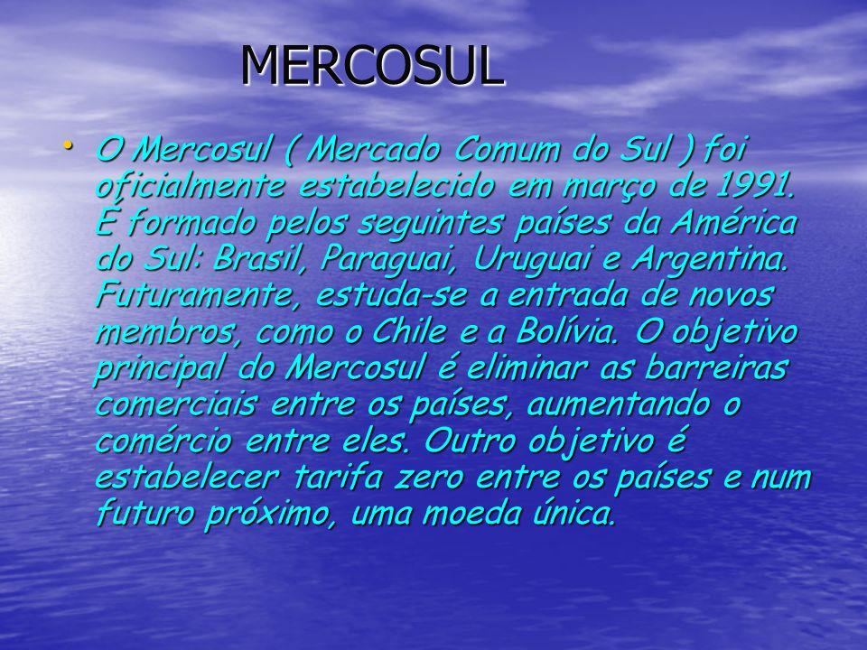 MERCOSUL MERCOSUL O Mercosul ( Mercado Comum do Sul ) foi oficialmente estabelecido em março de 1991. É formado pelos seguintes países da América do S