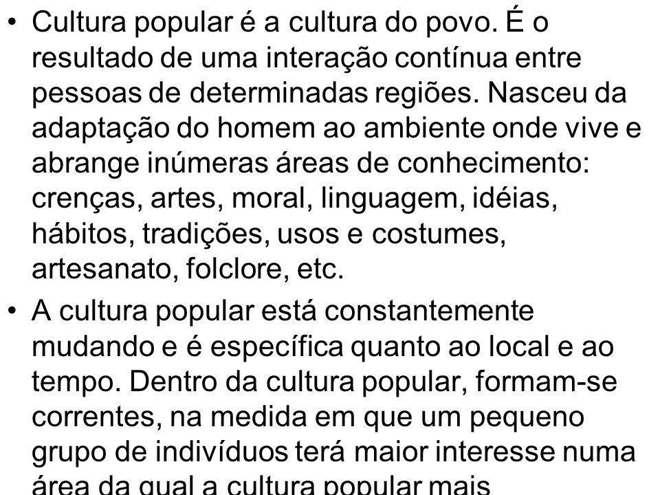 Cultura popular é a cultura do povo. É o resultado de uma interação contínua entre pessoas de determinadas regiões. Nasceu da adaptação do homem ao am