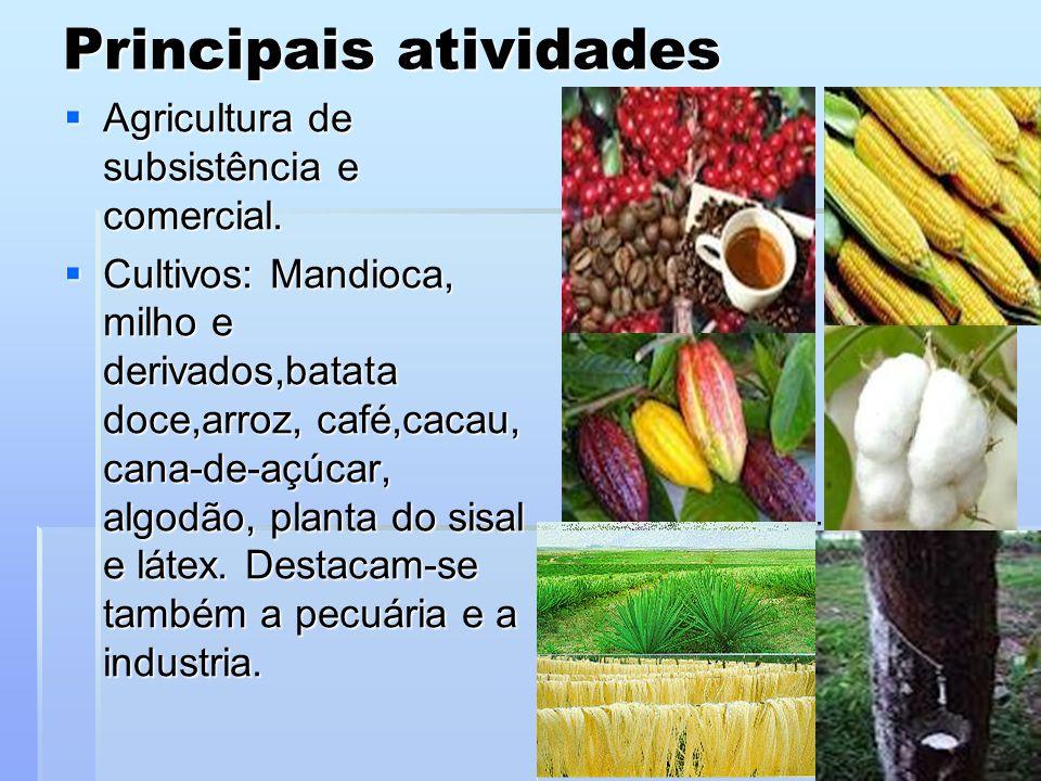 Principais atividades Agricultura de subsistência e comercial.