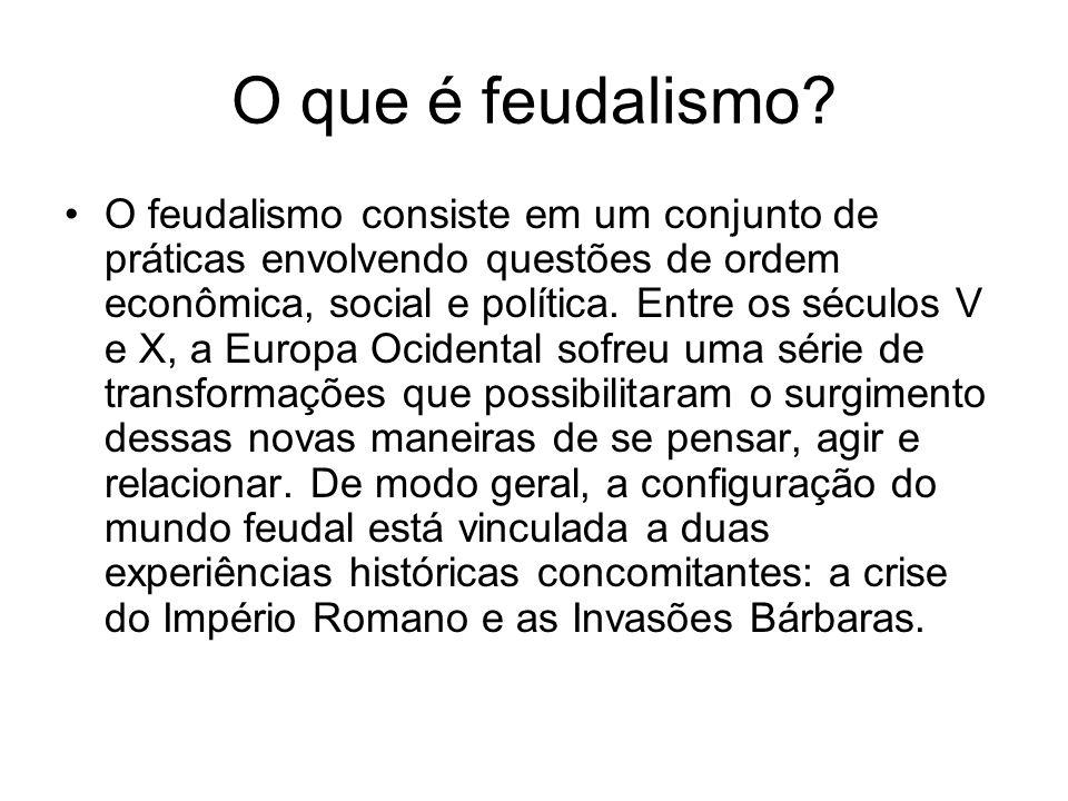 O que é feudalismo? O feudalismo consiste em um conjunto de práticas envolvendo questões de ordem econômica, social e política. Entre os séculos V e X