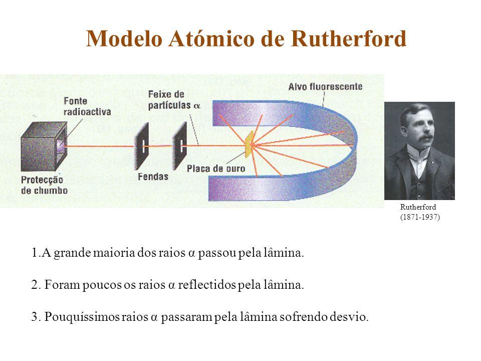 Modelo Atómico de Rutherford Rutherford (1871-1937) 1.A grande maioria dos raios α passou pela lâmina. 2. Foram poucos os raios α reflectidos pela lâm