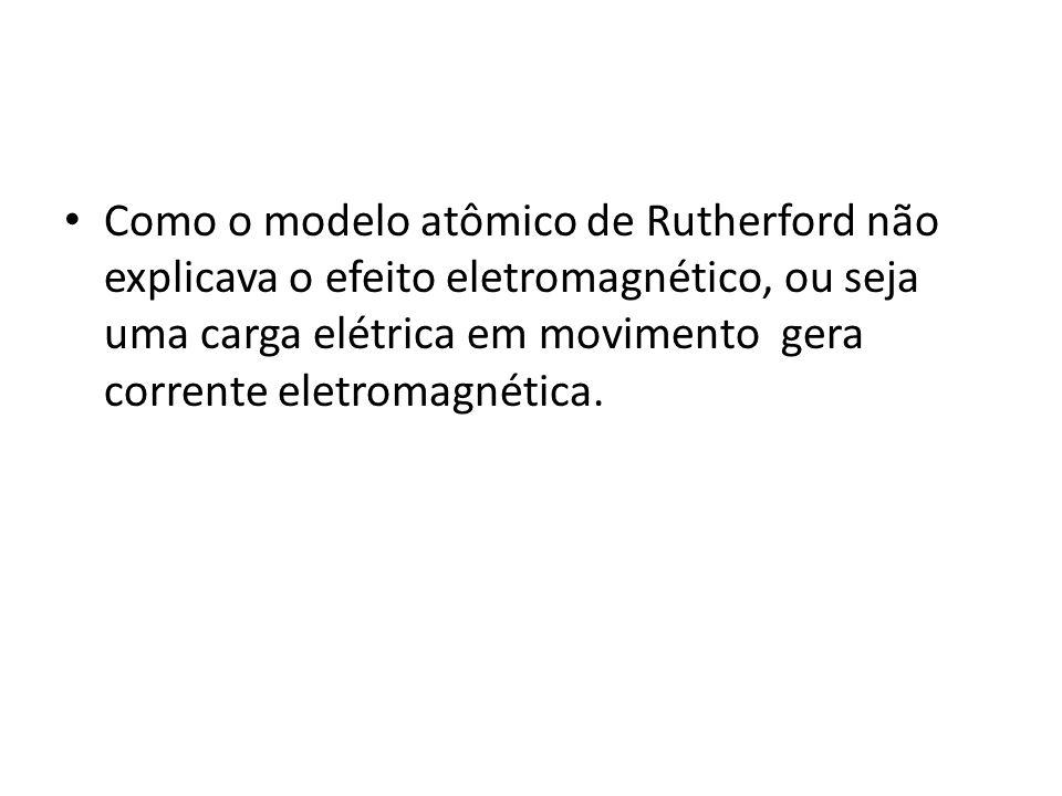 Como o modelo atômico de Rutherford não explicava o efeito eletromagnético, ou seja uma carga elétrica em movimento gera corrente eletromagnética.