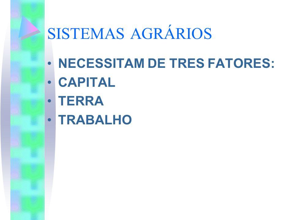 SISTEMAS AGRÁRIOS NECESSITAM DE TRES FATORES: CAPITAL TERRA TRABALHO