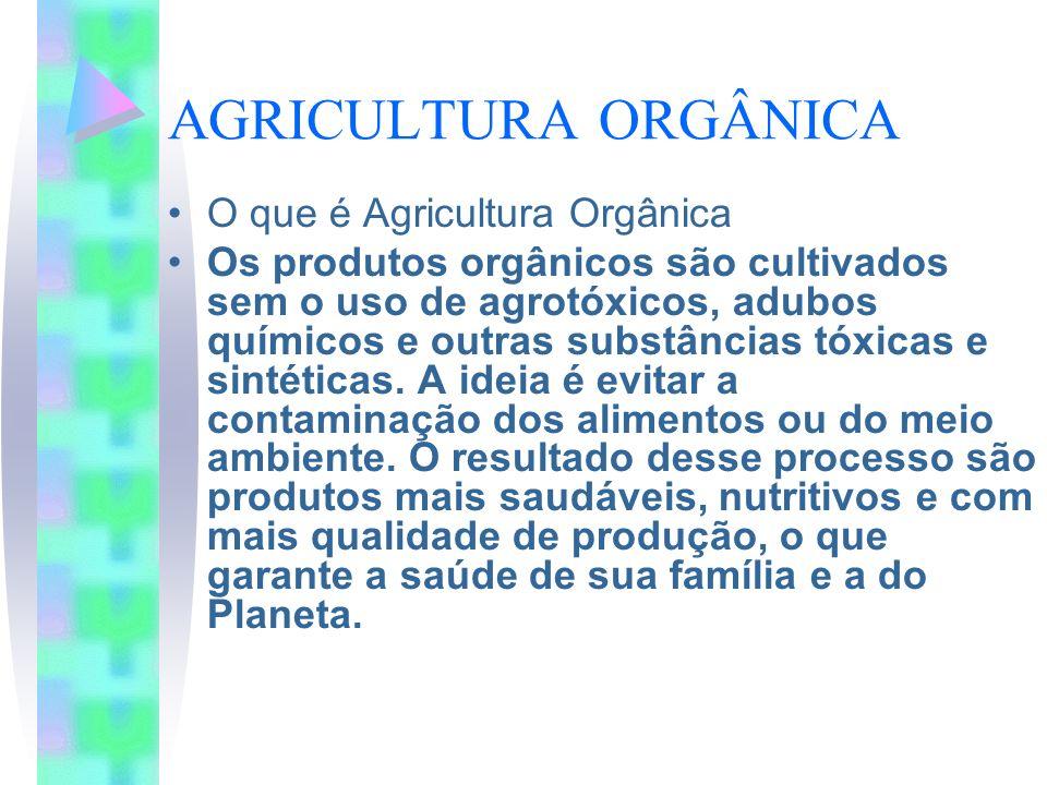 AGRICULTURA ORGÂNICA O que é Agricultura Orgânica Os produtos orgânicos são cultivados sem o uso de agrotóxicos, adubos químicos e outras substâncias