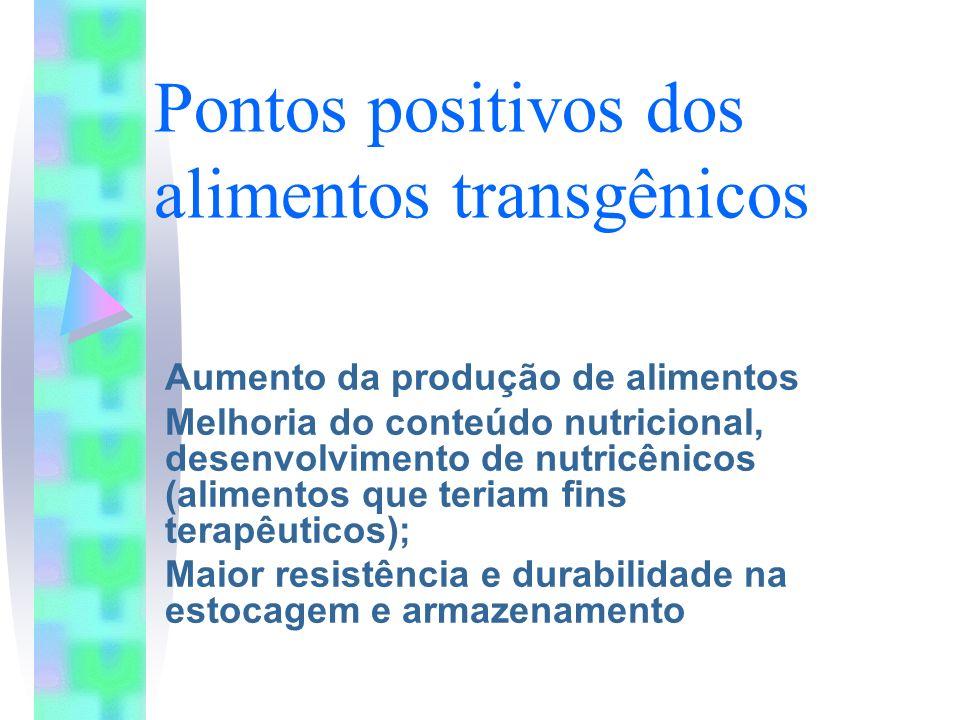 Pontos positivos dos alimentos transgênicos Aumento da produção de alimentos Melhoria do conteúdo nutricional, desenvolvimento de nutricênicos (alimen