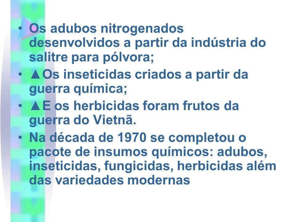 Os adubos nitrogenados desenvolvidos a partir da indústria do salitre para pólvora; Os inseticidas criados a partir da guerra química; E os herbicidas