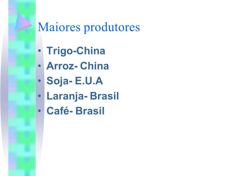 Maiores produtores Trigo-China Arroz- China Soja- E.U.A Laranja- Brasil Café- Brasil