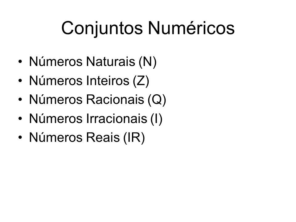 Conjuntos Numéricos Números Naturais (N) Números Inteiros (Z) Números Racionais (Q) Números Irracionais (I) Números Reais (IR)