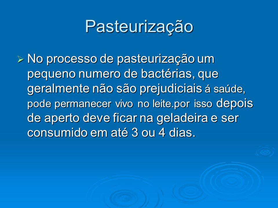 Pasteurização No processo de pasteurização um pequeno numero de bactérias, que geralmente não são prejudiciais á saúde, pode permanecer vivo no leite.