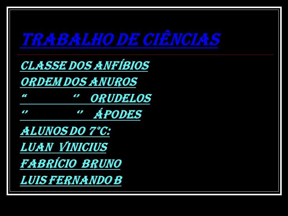 TRABALHO DE CIÊNCIAS CLASSE DOS ANFÍBIOS ORDEM DOS ANUROS ORUDELOS ápodes Alunos do 7°c: Luan Vinicius Fabrício Bruno Luis Fernando b
