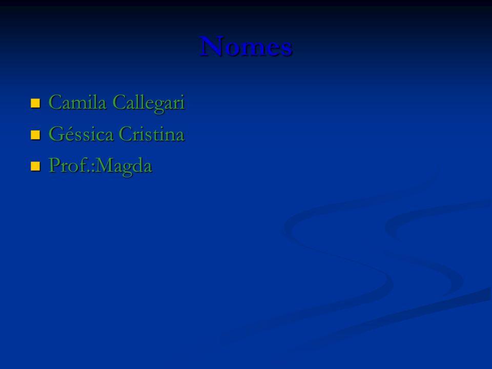Nomes Camila Callegari Camila Callegari Géssica Cristina Géssica Cristina Prof.:Magda Prof.:Magda