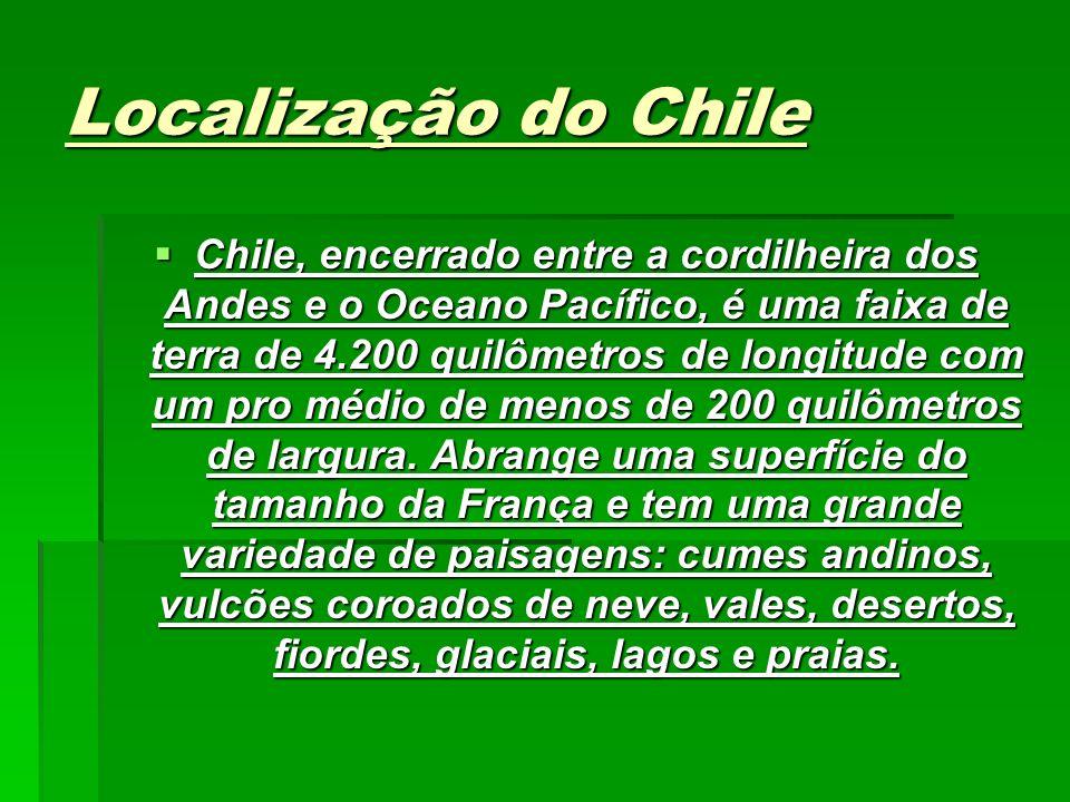 Localização do Chile Chile, encerrado entre a cordilheira dos Andes e o Oceano Pacífico, é uma faixa de terra de 4.200 quilômetros de longitude com um pro médio de menos de 200 quilômetros de largura.