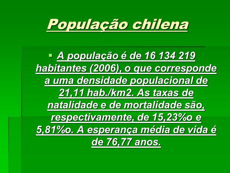 População chilena A população é de 16 134 219 habitantes (2006), o que corresponde a uma densidade populacional de 21,11 hab./km2.