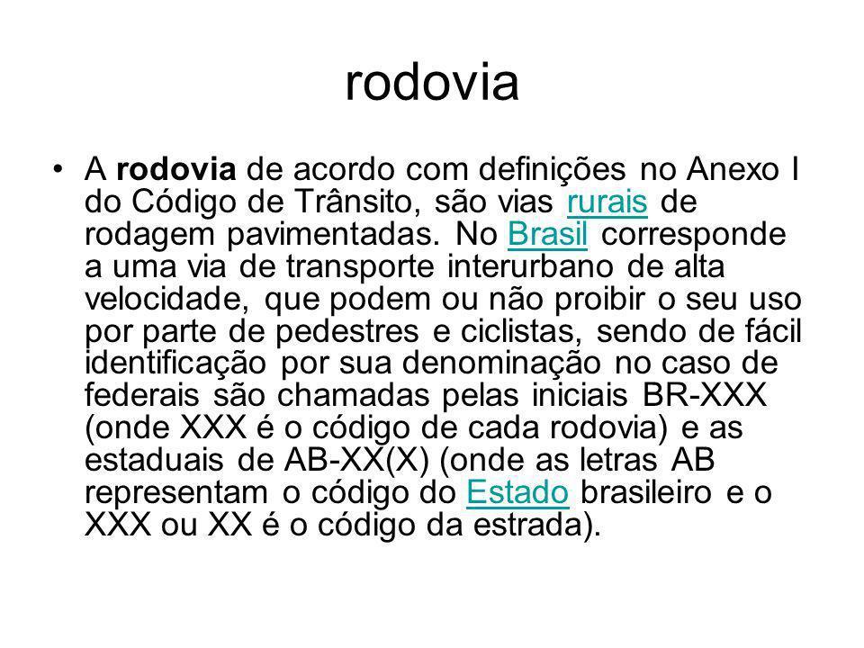 rodovia A rodovia de acordo com definições no Anexo I do Código de Trânsito, são vias rurais de rodagem pavimentadas. No Brasil corresponde a uma via