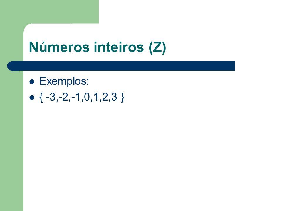 Números inteiros (Z) Exemplos: { -3,-2,-1,0,1,2,3 }