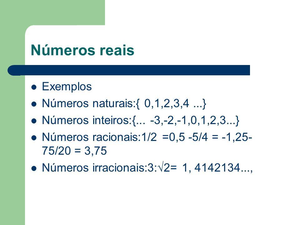 Números reais Exemplos Números naturais:{ 0,1,2,3,4...} Números inteiros:{... -3,-2,-1,0,1,2,3...} Números racionais:1/2 =0,5 -5/4 = -1,25- 75/20 = 3,