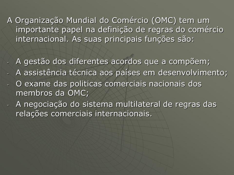 A Organização Mundial do Comércio (OMC) tem um importante papel na definição de regras do comércio internacional.